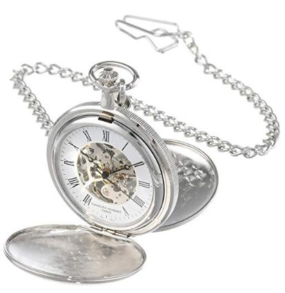 Charles-Hubert Chrome Mechanical Pocket Watch