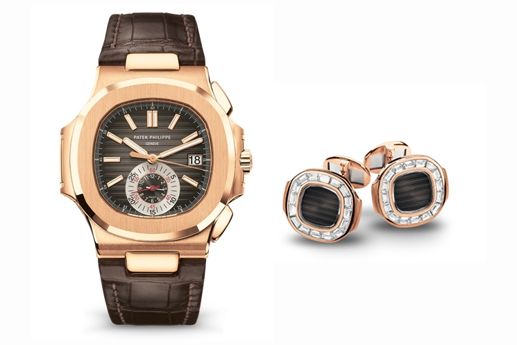 PATEK PHILIPPE NAUTILUS REF 5980R-001 & NAUTILUS CUFFLINKS WITH 32 BAGUETTE DIAMONDS (~2.06 CT.) IN 18K ROSE GOLD