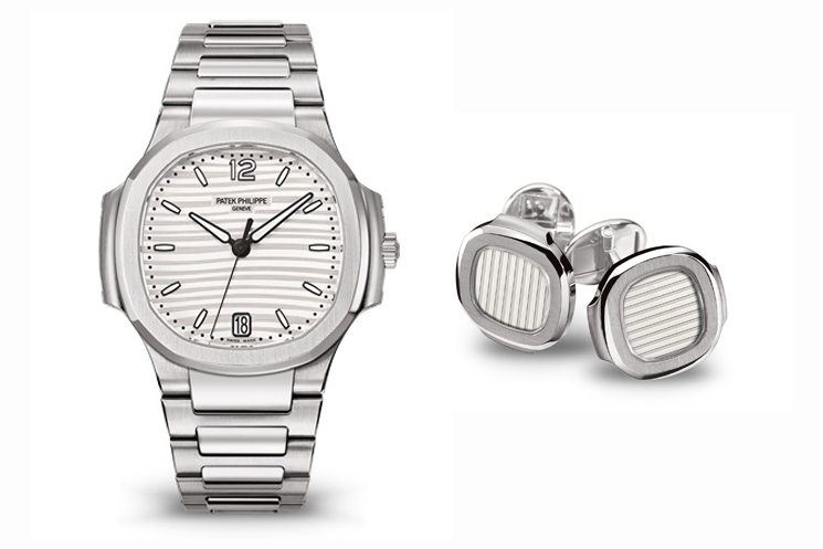 PATEK PHILIPPE NAUTILUS REF 7118/1A-010 & NAUTILUS CUFFLINKS WITH SILVERY-WHITE SAPPHIRE CRYSTAL CENTRE IN 18K WHITE GOLD