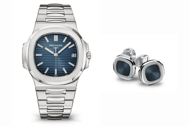 PATEK PHILIPPE NAUTILUS REF 5711/1A-010 & NAUTILUS CUFFLINKS WITH BLACK-BLUE SAPPHIRE CRYSTAL CENTRE IN 18K WHITE GOLD