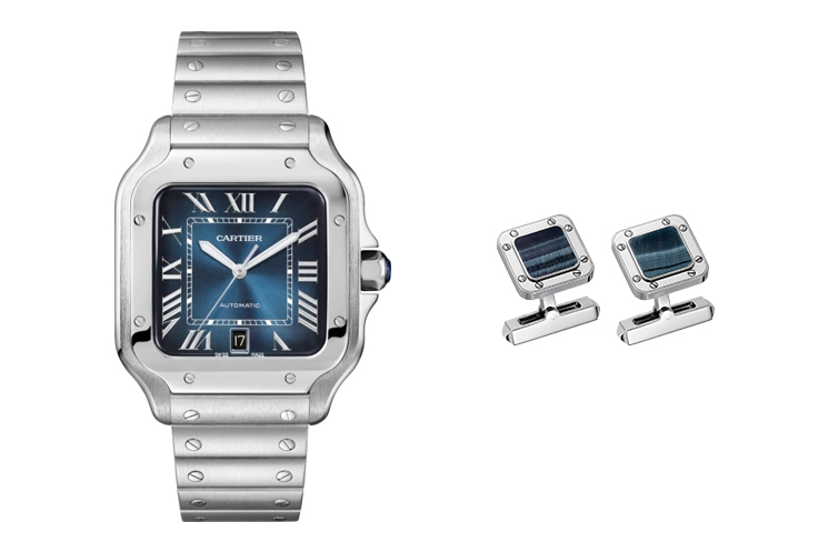 CARTIER SANTOS DE CARTIER IN STEEL WITH BLUE DIAL & CARTIER SANTOS DE CARTIER CUFFLINKS IN PALLADIUM-FINISH STERLING SILVER AND HAWK'S EYE