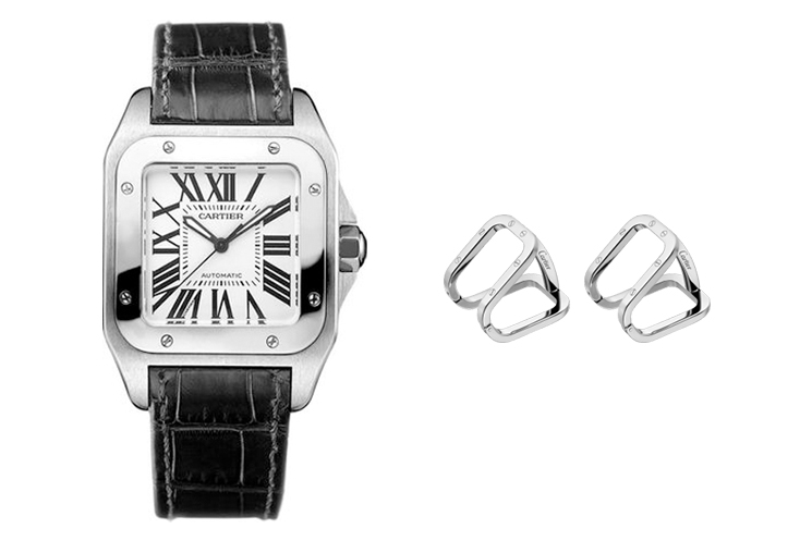 CARTIER SANTOS DE CARTIER IN STEEL & CARTIER SANTOS DE CARTIER CUFFLINKS IN PALLADIUM-FINISH STERLING SILVER WITH WATCH BEZEL MOTIF