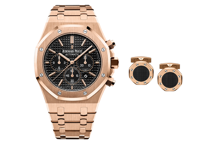 "AUDEMARS PIGUET ROYAL OAK CHRONOGRAPH IN 18K PINK GOLD CASE WITH BLACK DIAL & AUDEMARS PIGUET ROYAL OAK GOLD CUFFLINKS WITH BLACK ""TAPISSERIE"" CENTRE"