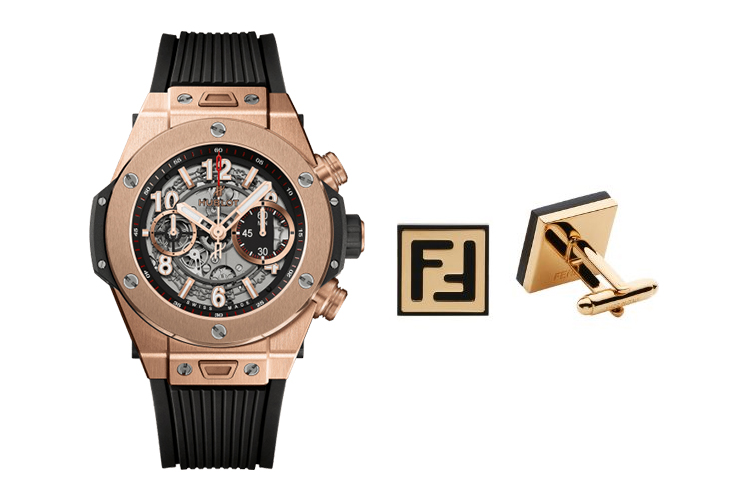 HUBLOT BIG BANG UNICO IN KING GOLD AND CERAMIC & FENDI GOLD CUFFLINKS WITH BLACK ENAMEL LOGO