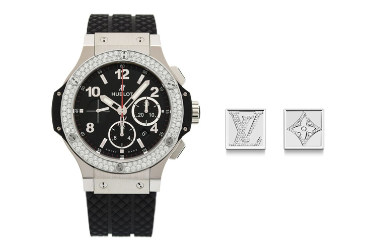 HUBLOT BIG BANG IN STAINLESS STEEL WITH DIAMOND BEZEL & LOUIS VUITTON MONOGRAM STRASS CUFFLINKS