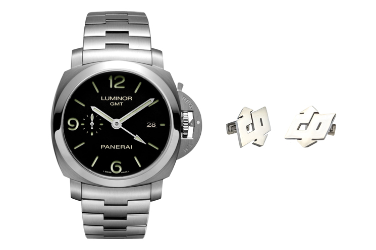 PANERAI LUMINOR 1950 WITH BLACK DIAL & PANERAI LOGO CUFFLINKS