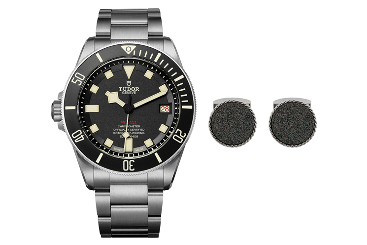 TUDOR PELAGOS WITH CERAMIC BLACK DIAL IN TITANIUM AND STEEL CASE & TATEOSSIAN DRUSE ROUND-SHAPED CUFFLINKS