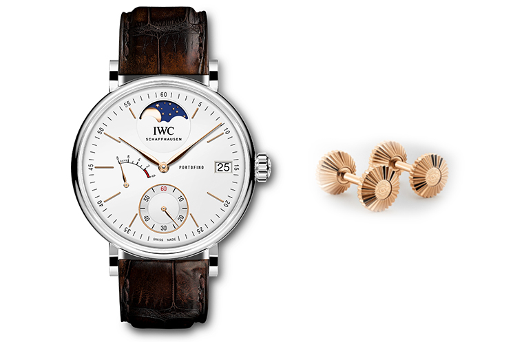 IWC PORTOFINO HAND-WOUND MOON PHASE & IWC 5N GOLD CROWN CUFFLINKS