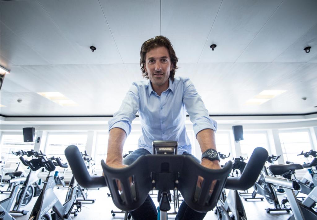 Fabian Cancellara indoor spinning with his IWC watch